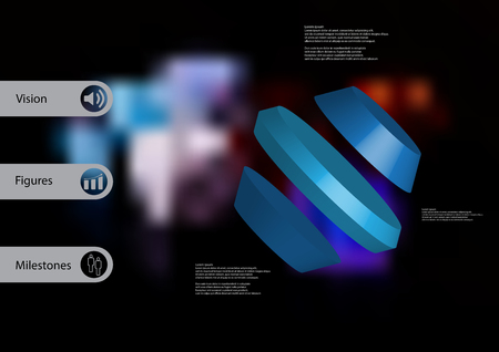 3D illustration infographic template with motif of rotated hexagon divided to three blue parts askew arranged with simple sign and sample text on side in bars. Blurred photo is used as background. Illustration