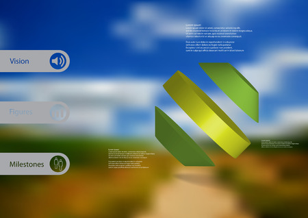 3D illustration infographic template with motif of rotated octagon divided to three green parts askew arranged with simple sign and sample text on side in bars. Blurred photo is used as background. Illustration