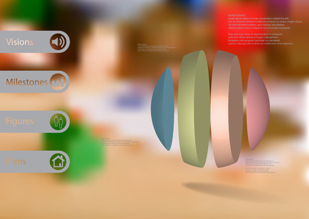 3D illustration infographic template with motif of ball vertically divided to four color parts.