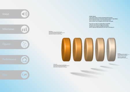 3D illustration info graphic template with motif of five orange cylinders horizontally arranged with simple sign and sample text on side in bars. Light blue gradient is used as background.