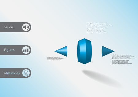 3D illustration info graphic template with motif of two spiked cone vertically divided to three blue parts with simple sign and sample text on side in bars. Light blue gradient is used as background.