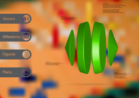 3D illustration info graphic template with motif of two cones and two cylinders between horizontally arranged with green color with simple sign and sample text on side in bars and blurred background.