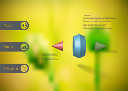 3D illustration infographic template with motif of two spiked cone vertically divided to three color parts with simple sign and sample text on side in bars. Blurred photo is used as background.