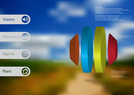 3D illustration infographic template with motif of round octagon vertically divided to four color parts with simple sign and sample text on side in bars. Blurred photo is used as background.
