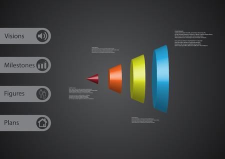 Modello infographic dell'illustrazione 3D con il motivo del cono rotondo diviso verticalmente in quattro parti di colore con il segno semplice e testo del campione sul lato nelle barre. Il gradiente grigio scuro viene utilizzato come sfondo.