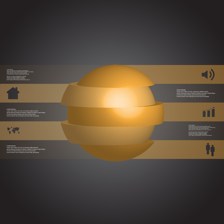 3D illustration infographic template with motif of sliced ball to five orange parts which are stacked with shifted elements. Simple sign and text is in color banners.  Dark grey gradient is used as background. Illustration