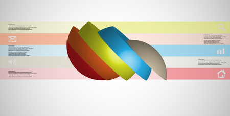3D illustration infographic template with motif of sliced ball to five color parts on a light grey gradient background.