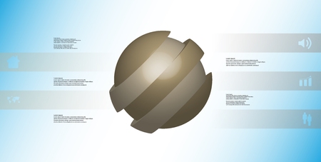 3D illustration infographic template with motif of askew sliced ball to five brown parts which are shifted.