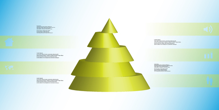 Green sliced cone infographic template on light blue background