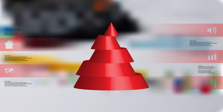 Red sliced cone infographic template on blurrred background Illustration