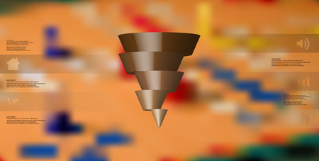 3D illustration infographic template with motif of horizontally sliced cone to five brown parts which are shifted.