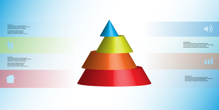 Colorful sliced cone infographic template on light blue background Illustration