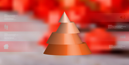 Orange sliced cone infographic template on blurry red background