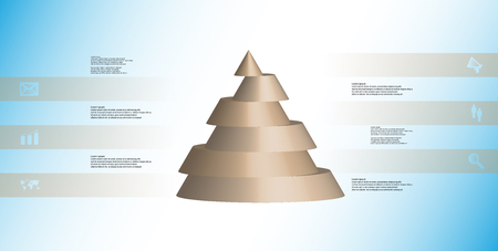 Brown sliced cone infographic template on light blue background