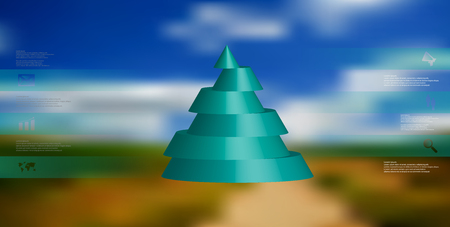 Green sliced cone infographic template on blurry sky background