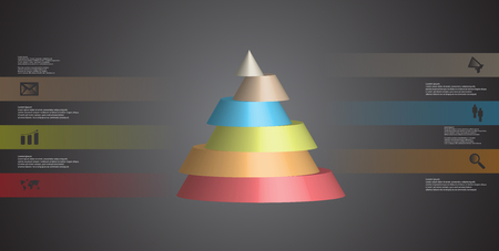 Colorful sliced cone infographic template on brown background Illustration