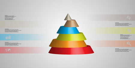 Colorful sliced cone infographic template on gray background Illustration