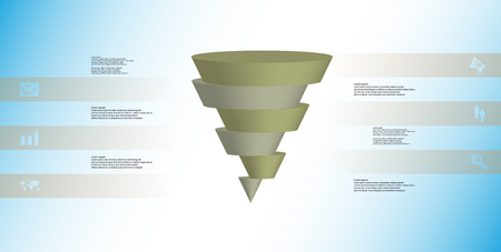 Inverted brown and gray sliced cone infographic template on light blue background Illustration