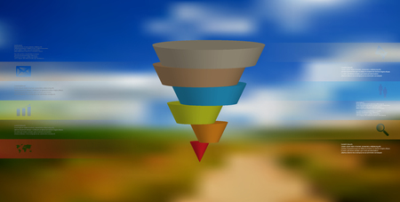 3D illustration infographic template with motif of horizontally sliced cone to six color parts which are shifted.