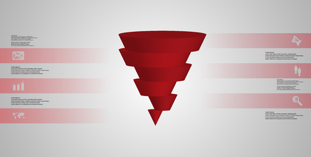 Red sliced cone infographic template on gray background Illustration