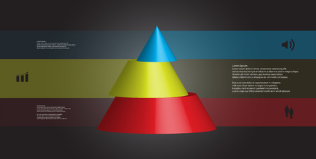 3D illustration infographic template with motif of horizontally sliced cone to three color parts which are shifted.