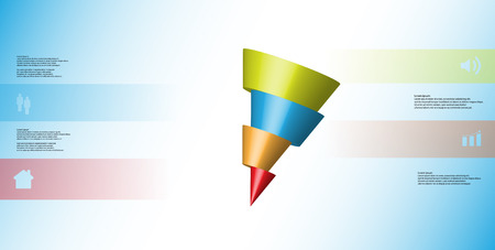 3D illustration info-graphic template with motif of horizontally sliced cone to four color parts which are shifted and askew arranged. Simple sign and text is in color banners. Light blue background.