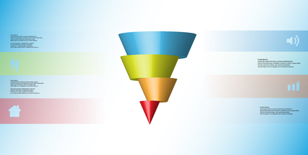 3D illustration infographic template with motif of horizontally sliced cone to four color parts which are shifted. Illustration