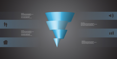 3D illustration infographic template with motif of horizontally sliced cone to four blue parts which are shifted.