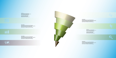 3D illustration infographic template with motif of horizontally sliced cone