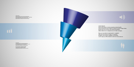 3D illustration infographic template with motif of horizontally sliced cone to three blue parts which are shifted and askew arranged.