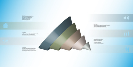 3D illustration infographic template with motif of sliced cone to five color parts which are shifted, spilled and askew arranged. Simple sign and text is in color banners. Background is light blue. Illustration
