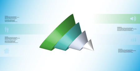 3D illustration infographic template with motif of sliced cone to four color parts which are shifted, spilled and askew arranged. Simple sign and text is in color banners. Background is light blue. Illustration