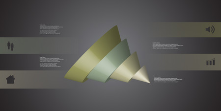 3D illustration infographic template with motif of sliced cone to four color parts which are shifted, spilled and askew arranged. Simple sign and text is in color banners. Background is dark grey.