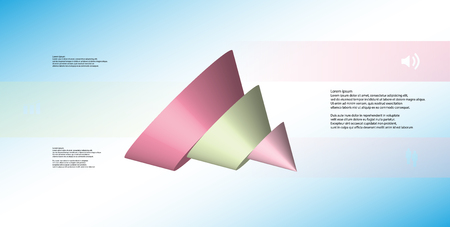 3D illustration infographic template with motif of sliced cone to three color parts which are shifted, spilled and askew arranged. Simple sign and text is in color banners. Background is light blue. Illustration