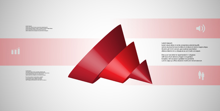 3D illustration infographic template with motif of sliced cone to three red parts which are shifted, spilled and askew arranged. Simple sign and text is in color banners. Background is light grey. Illustration