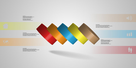 3D illustration infographic template with motif of horizontally sliced cylinder to five color parts which are spilled. Simple sign and text is in color banners. Background is light grey. Illustration