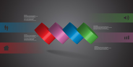 3D illustration infographic template with motif of horizontally sliced cylinder to four color parts which are spilled. Simple sign and text is in color banners. Background is dark grey.