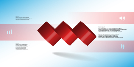 3D illustration infographic template with motif of horizontally sliced cylinder to three red parts which are spilled. Simple sign and text is in color banners. Background is light blue. Illustration