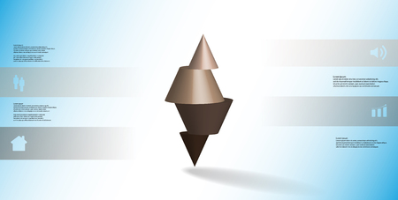 3D illustration infographic template with motif of horizontally sliced spiked cone to four brown parts stands on top. Simple sign and text is in color banners. Background is light blue.
