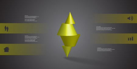 3D illustration infographic template with motif of horizontally sliced spiked cone to four green parts stands on top. Simple sign and text is in color banners. Background is dark grey.