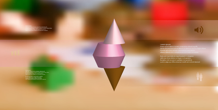 3D illustration infographic template with motif of horizontally sliced spiked cone to three color parts stands on top. Simple sign and text is in color banners. Background is blurred photo.