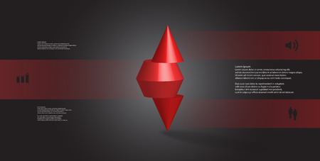 3D illustration infographic template with motif of horizontally sliced spiked cone to three red parts stands on top. Simple sign and text is in color banners. Background is dark grey.
