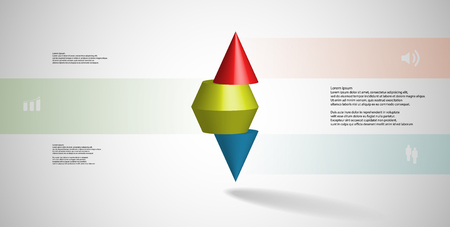 3D illustration infographic template with motif of horizontally sliced spiked cone to three color parts stands on top. Simple sign and text is in color banners. Background is light grey.