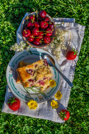 Vertical photo with top view on two portions of cherry cake. Cake is placed on saucer and on white towel. Bowl full of other fruits is next to cake with several red strawberries and blooms.