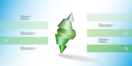 3D illustration infographic template with motif of sliced spiked cone to five green parts and askew arranged. Simple sign and text is in color banners. Background is light blue. Illustration