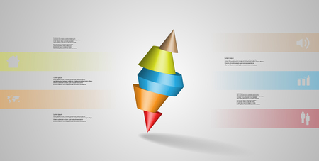 3D illustration infographic template with motif of sliced spiked cone to five color parts and askew arranged. Simple sign and text is in color banners. Background is light grey. Illustration
