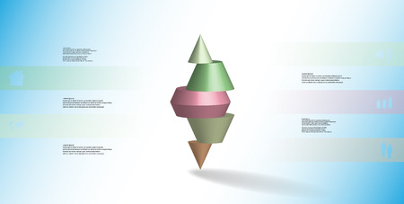 3D illustration infographic template with motif of horizontally sliced spiked cone to five color parts stands on top. Simple sign and text is in color banners. Background is light blue. Illustration