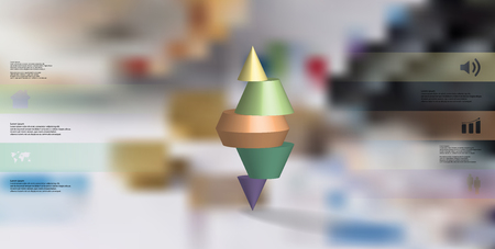3D illustration infographic template with motif of horizontally sliced spiked cone to five color parts stands on top. Simple sign and text is in color banners. Background is blurred photo.