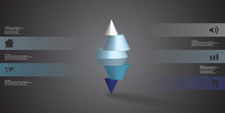 3D illustration infographic template with motif of horizontally sliced spiked cone to five color parts stands on top. Simple sign and text is in color banners. Background is dark grey.