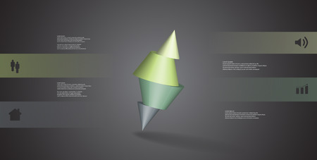 3D illustration infographic template with motif of sliced spiked cone to four color parts and askew arranged. Simple sign and text is in color banners. Background is dark grey.